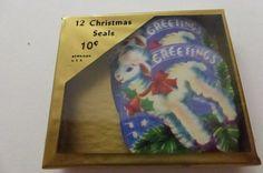 Vintage 50s Dennison Little Lamb Christmas Seals NIP by papertales, $4.25
