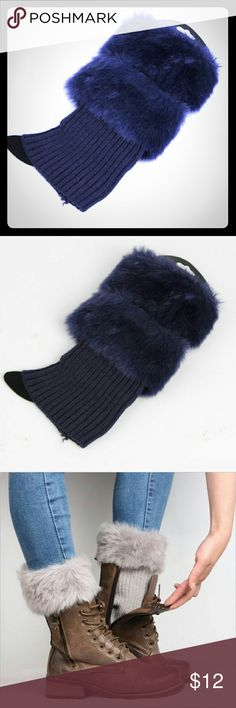 Faux Fur Women Navy Knitted Crochet Boots Covers New Faux Fur Women Navy Blue Knitted Crochet Boots Covers. Last photo is for styling only. Navy blue is the only color available.   IN original plastic packaging. Accessories Hosiery & Socks