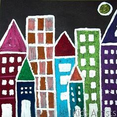 Students draw the outline of simple houses on black paper. Behind the high ones, in the front the lower ones. Colour the houses with oil pastel. Draw and colour a behind the houses. Mix some drops of dishwashing detergent with tempera paint. This keeps the paint to stick to the oily chalk. Outline the houses and moon with the white paint. Finally paint windows and doors.