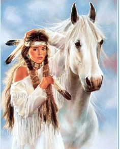 Beatiful young worman and horse - Native American paintings by Maija Native American Paintings, Native American Pictures, Native American Beauty, Indian Pictures, American Indian Art, Native American History, Indian Paintings, American Indians, Native American Horses