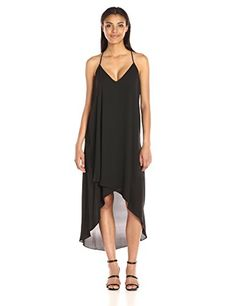 BCBGMax Azria Womens Cressidia Lace Trim HighLow Hem Dress Black Small -- Check out the image by visiting the link.