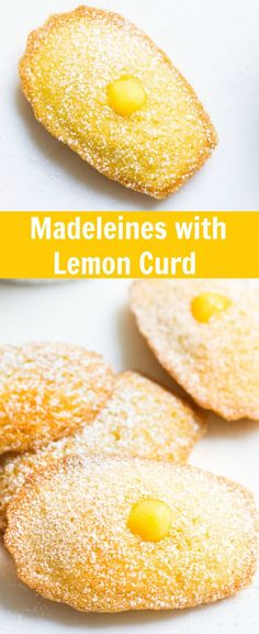 Madeleines with Lemon Curd: sweet little French cakes filled with delicious lemon curd. Recipe via MonPetitFour.com