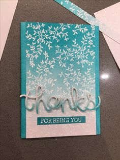 Thank you card, embossing, ombré.