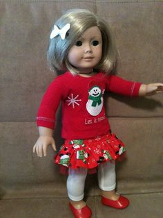 18 inch doll (modeled by American Girl)  Snowman Harajuku Station Skirt skirt set with hair bow