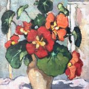 Sold | Theys, Conrad | Red and Orange Nasturtiums Brighton College, South Africa Art, National Art Museum, South African Artists, Art Society, Art Studies, Art School, Graphic Art, Flowers