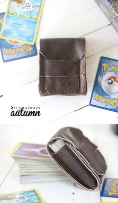 DIY leather deck holders for Pokemon or Magic cards {great tween gift!} – It's Always Autumn - Poke Ball Gifts For Teen Boys, Tween Gifts, Gifts For Teens, Diy For Kids, Boy Gifts, Pokemon Craft, Leather Scraps, Magic Cards, Camping Crafts