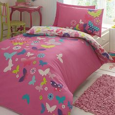 Butterfly Home by Matthew Williamson Children's pink 'Rainbow Butterflies' bedding set- | Debenhams