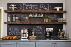 Vintage and grey - chalkboard wall with open shelves