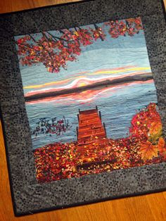 Fiber Art Quilt Wallhanging Sunset with by MulberryPatchQuilts