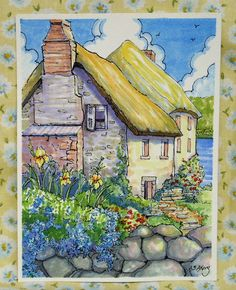 My storybook cottage series features gardens where weeds seem to blend in nicely, my favorite cottage flowers, a gentle passing of the seasons and cottages that stand as poster children for the less is more philosophy. Farm Paintings, Watercolor Art Paintings, Watercolors, Cute Cottage, Cottage Art, Watercolor Whale, Watercolor Sketch, Vintage Illustration Art, Illustrations