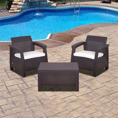 International Home Miami KE CORFU3 Three-Piece Atlantic Corfu Outdoor Conversation Set