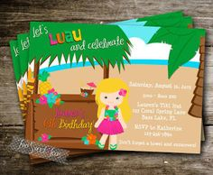 etsy hawaiian birthday party invitations - Google Search