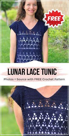 crochet Lunar Lace Tunic free pattern crochet Lunar Lace Tunic free pattern - easy crochet tops pattern for beginners Crochet Summer Tops, Crochet Tops, Easy Crochet, Crochet Lace, Free Crochet, Crochet Sweaters, Crochet Tunic Pattern, Crochet Shirt, Top Pattern