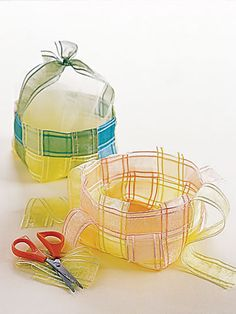 Create a Delicate Weave:     Make featherweight party favors with sheer organza silk ribbons.