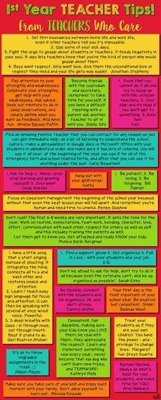 Year Teacher Tips Amazing advice and encouragement for new teachers, from teachers who care!Amazing advice and encouragement for new teachers, from teachers who care! 1st Year Teachers, First Year Teaching, Student Teaching, Teacher Books, Teacher Resources, Teacher Stuff, Teachers Toolbox, Teacher Quotes, Teaching Strategies