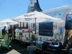 "Part of the wide-spread promotion campaign for the ""Shark Week"" 2012 by Discovery Channel USA was a pop-up barber shop in Los Angeles. A ""Shark Week"" branded trailer was placed at a beach front - unofficially named the ""Land Shark Barbershop"". Fans could get a fin-like mohawk or a jaw-shaved beard for free by Bolt Barbers."