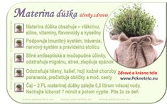 Info obrazok materina duska Raw Food Recipes, Healthy Recipes, Wellness, Planer, Food Art, Fitness, Detox, Medicine, Lifestyle