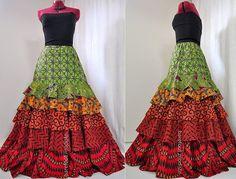Summer Symphony - Bohemian Ruffled Skirt, Long Layered African ...