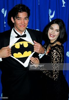 Dean Cain and Teri Hatcher during 1993 Emmy Awards - Press Room in Los Angeles, CA, United States.