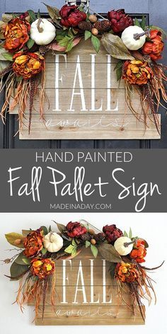 Fall Awaits Hand Painted Pallet Grab all the supplies to create this beauty. Pallet sign paint a pallet fall sign how to hand-paint a pallet sign fall door hanger hand painted sign Fall Projects, Diy Pallet Projects, Fall Pallet Signs, Fall Signs, Fall Door Hangers, Pallet Painting, Autumn Crafts, Hand Painted Signs, Fall Home Decor