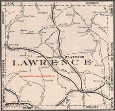 Lawrence County Missouri Map 1904 Mt. Vernon, Aurora, Pierce City, Marionville, Verona, Stotts City, Red Oak, Halltown, MO
