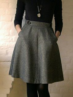 Love the fall/winter grey skirt with simple top