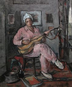 Woman With Guitar - Gheorghe Petrascu Good Poses, Venice Biennale, Art Database, Vintage Artwork, Renoir, Art And Architecture, Art Boards, My Arts, Europe
