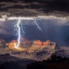 Lightning strike over the Grand Canyon, Arizona....... Cheyenne Kane