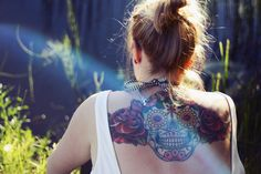 We specialize in Day of the Dead and Dia de los Muertos themed jewelry, although we love badass jewelry too. Shop for skulls, lolitas, skeletons, oh my. Dream Tattoos, Girl Tattoos, Tatoos, Tattoo Caveira, Back Tats, Mexican Tattoo, Upper Back Tattoos, Places For Tattoos, Sugar Skull Tattoos