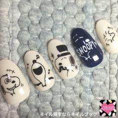 Cute Nail Art, 3d Nail Art, Nail Arts, Cute Nails, Gel Manicure, Diy Nails, Snoopy Nails, Self Nail, Bridal Eye Makeup