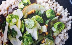 Creamy pearl spelt with Brussels sprout salad and onion relish. Find the recipe here: http://denmark.dk/en/lifestyle/food-drink/new-nordic-recipes/creamy-pearl-spelt/