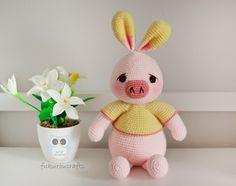 fukuroucrafts: Cute Crochet Pattern Pig Rabbit Doll, Amigurumi Pattern Rabbit Doll, แพทเทิร์น ตุ๊กตา ถัก โครเชต์ หมูกระต่าย น่ารัก