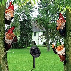 Solar Powered Garden Tree Gnomes (Set Of 4) Whimsical Yard Decor Creatures  By