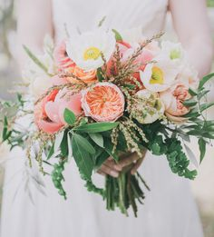 poppy, peony and juliet rose spring bouquet
