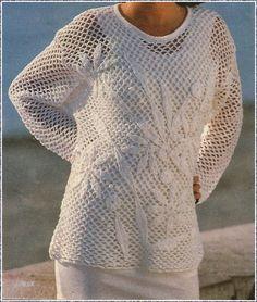 Meine-Wollust: luftiges Netzhemd mit aufgenähten Häkelblüten