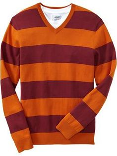Men's Rugby-Stripe Lightweight V-Neck Sweaters | Old Navy | mens ...