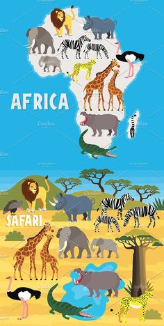 Africa Safari Animal Set Montessori Activities, Preschool Activities, Animal Set, Human Body Activities, Social Studies Worksheets, Maps For Kids, Les Continents, Magic Treehouse, English Lessons For Kids