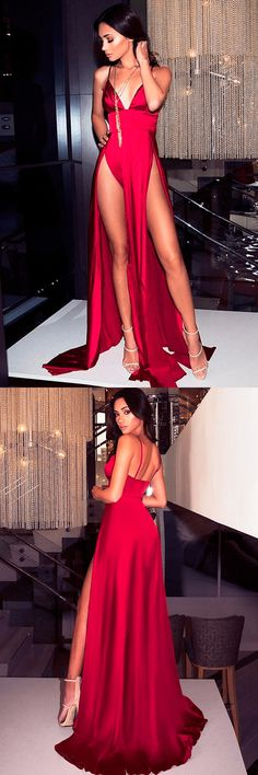 Sexy Prom Dress,Red Prom Dress,Spaghetti Strap Prom Dress,Long Prom Dress with Splits,2018 Prom Dress,Red Evening Dress,Red V-Neck Party Dress