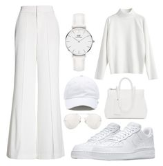 White | Women's by permatasariputri on Polyvore featuring polyvore, fashion, style, Alice + Olivia, NIKE, Marsèll, Daniel Wellington, Vans, Linda Farrow and clothing