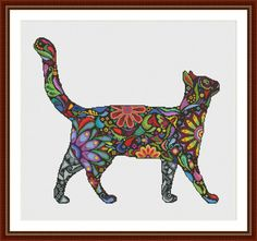 Colorful Abstract Catt is a pattern, not the completed work. This pattern allows you the freedom to pick your own fabric and floss color.  On 14-count aida the designs measures 16.9*15.1 inches (237w X 211h). Sizes will change with count size.  Design used 37 DMC thread colors. This pattern is in PDF format and consists of a floss list, and a color symbol chart. If you have any questions about this pattern, please ask me. I will contact you with any further instructions when order is…