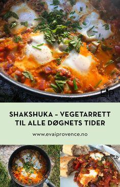 SHAKSHUKA – EN VARMENDE VEGETARRETT TIL ALLE DØGNETS TIDER Bon Appetit, Nom Nom, Food And Drink, Ethnic Recipes, Cilantro