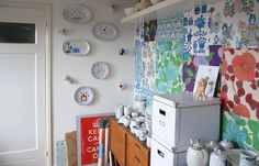 eclectic cottage craft room | Eclectic design ideas with accent wall ceramics collection craft room ...