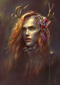 Keyleth the half-elven druid by mikandiiprints