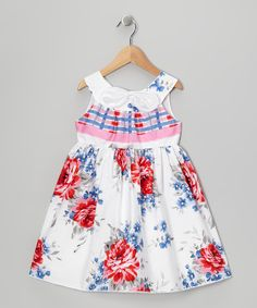 Red & Blue Rose A-Line Dress - Toddler & Girls I like the placement of the fabrics...yoke, then plaid empire band waist, then floral again on skirt
