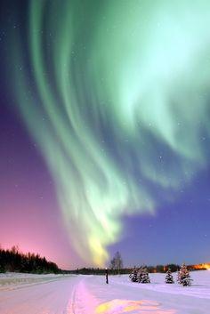 The northern lights dance across Alaska.