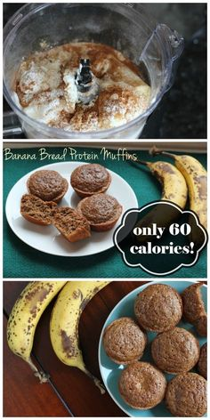Healthy Snacks This banana bread protein muffins are only 60 calories each! They're super simple to make and they're the perfect snack for a busy morning! - At just 60 calories each, these muffins are a perfect low calorie snack! Healthy Protein Snacks, Healthy Baking, Healthy Desserts, Dessert Recipes, Protein Foods, Ripe Banana Recipes Healthy, Healthy Muffins, Healthy Food, Healthy Meals