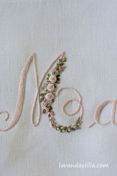 Wonderful Ribbon Embroidery Flowers by Hand Ideas. Enchanting Ribbon Embroidery Flowers by Hand Ideas. Embroidery Alphabet, Embroidery Monogram, Rose Embroidery, Hand Embroidery Stitches, Silk Ribbon Embroidery, Embroidery Hoop Art, Hand Embroidery Designs, Embroidery Techniques, Cross Stitch Embroidery