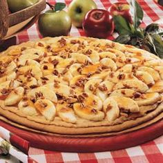Caramel Apple Pizza. This would be a very rare treat, high in calories. But looks delicious!!