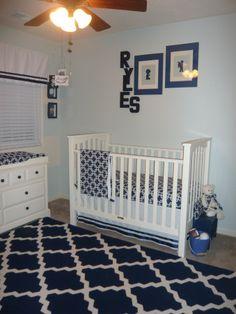 Navy Blue and White Boy Nursery.