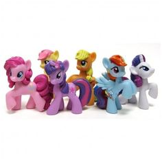 My Little Pony Friendship is Magic Set of the Mane Six 2 Inch PVC Figures Twilight Sparkle, Pinkie Pie, Rainbow Dash, Rarity, Applejack Fluttershy My Little Pony Set, My Little Pony Dolls, Little Pony Cake, My Little Pony Pictures, Little Girls, Fluttershy, Mlp, Magic Sets, Little Poney